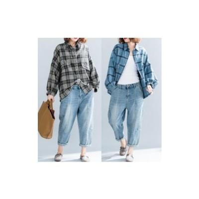 チェックシャツ レディース ネルシャツ ドロップショルダー ゆったり ルーズ ロング 体型カバー 長袖 送料無料 Smart ストア