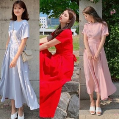 ワンピース 夏 レディース 韓国 ファッション ロングワンピース バックリボン 半袖 ワンピ 夏物 無地 シンプル 上品 清楚 ワンピ パステ