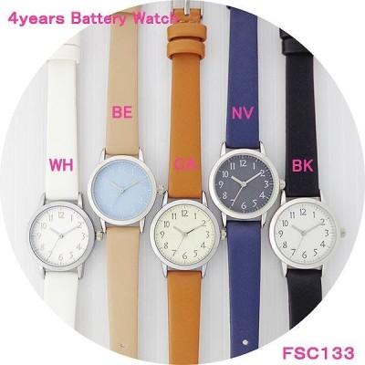 レディス 腕時計 電池寿命約4年 シンプル カラフル 革ウォッチ FSC133 ジョージ 日本製ムーブ 電池寿命 長い 軽量 ファッション