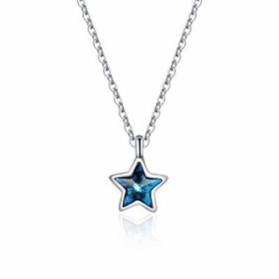 ForeverYou 925 Sterling Silver Blue Cubic Zirconia Star Pendant Necklace for Women Chain 18 inch