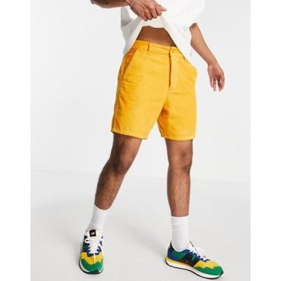 エイソス メンズ ハーフパンツ・ショーツ ボトムス ASOS DESIGN relaxed skater shorts in orange cord