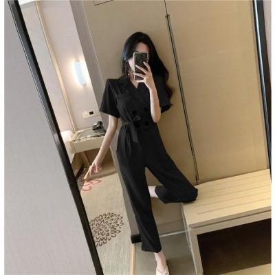 パンツドレス ドレス パンツ ジャンプスーツ レディース 黒 袖あり シンプル かっこいい 結婚式 お呼ばれ パーティードレス パンツ アンクル丈 9分丈 カシュクー