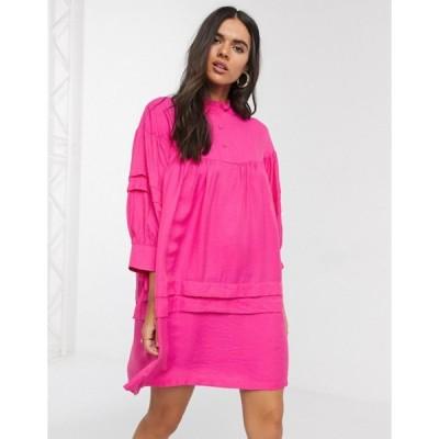 ヴェロモーダ レディース ワンピース トップス Vero Moda smock dress with high neck in pink