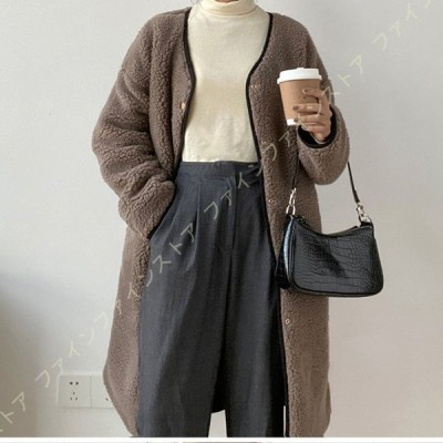 レディース ボアジャケット ボアブルゾン ふんわり 厚手 暖かい 冬 着痩せ 柔らかい アウトドア 羽織り 長袖 防寒 ふわふわ もこもこ ボア コート フリース
