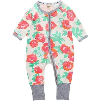 Plus Nao(プラスナオ) ベビー服 ジップアップ ファスナー カバーオール ロンパース 足つき 長袖 長ズボン 前開き 花柄 フラワー 鳥 バー