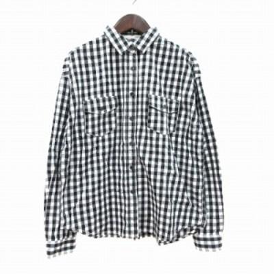 【中古】マウジー moussy シャツ 長袖 ギンガムチェック 刺繍 F 黒 ブラック 白 ホワイト /CT レディース