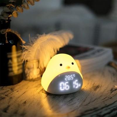 目覚まし時計ライト ベッドサイドランプ 目覚まし時計 アラーム ひよこ LED数字表示 目覚まし時計 ベッドサイド時計