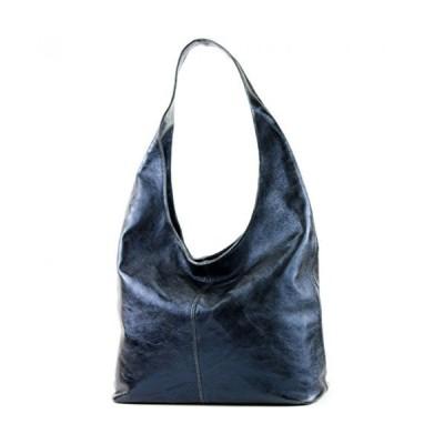 modamoda de - ital. Leather Bag Shoulder Bag Shoulder Bag Damentasche Wildleder T150, Colour:Metallic dark blue 並行輸入品