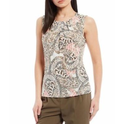 カルバンクライン レディース Tシャツ トップス Paisley Print Sleeveless Matte Jersey Pleat Neck Top Porcelain Rose
