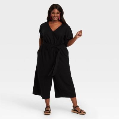アヴァ&ヴィヴィ Ava & Viv レディース オールインワン ジャンプスーツ 大きいサイズ ワンピース・ドレス Plus Size 3/4 Sleeve Cropped Jumpsuit - Black