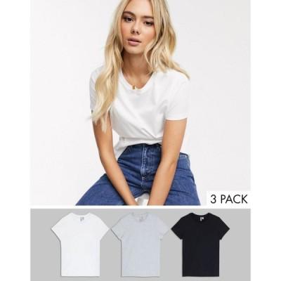 エイソス ASOS DESIGN レディース Tシャツ 3点セット トップス Ultimate Organic Cotton Crew Neck T-Shirt In 3 Pack Save ブラック/ホワイト/グレー