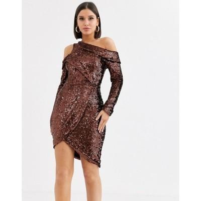 ラビッシュアリス レディース ワンピース トップス Lavish Alice velvet sequin wrap dress in chocolate