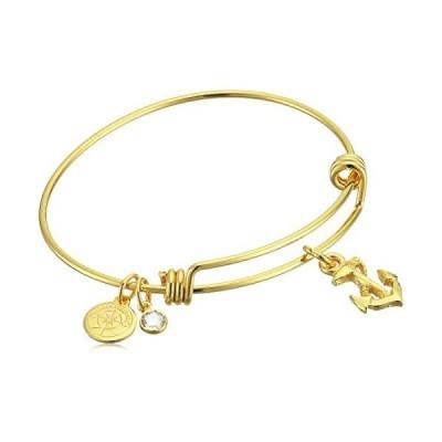 Halos & Glories, Anchor Charm Shiny Gold Bangle Bracelet並行輸入品 送料無料