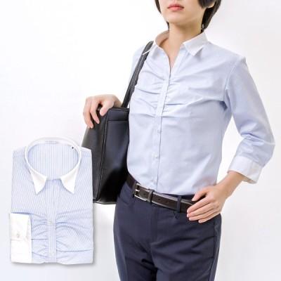 レディース 七分袖 シャツ ブラウス 形態安定 スリムフィット スキッパーカラー クレリック 胸ギャザー 青 サックス オフィス 7号〜13号