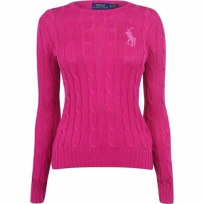 ラルフ ローレン Polo Ralph Lauren レディース スウェット・トレーナー トップス Sequin Logo Knit Sweater Accent Pink