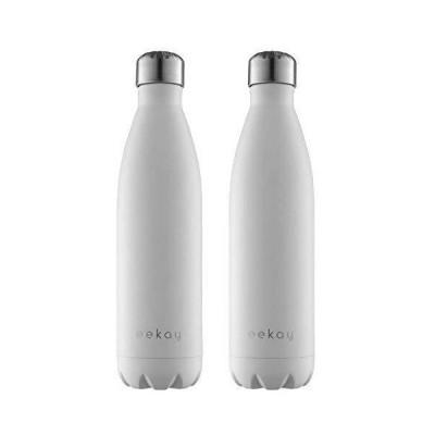 Eekay Wares ステンレス製 真空断熱 水ボトル 2 個入りパック BPAフリー 漏れ防止 ホット&コールド、25 オンスまたは17