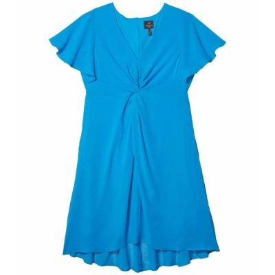アドリアナ パペル ワンピース トップス レディース Plus Size Twist Front Gauzy Crepe Dress Electric Blue