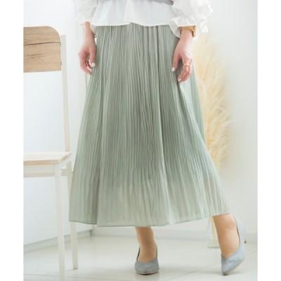 スカート 光沢プリーツスカート