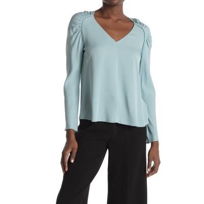 セオリー レディース シャツ トップス Shirred Shoulder Silk Top ICE BLUE