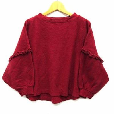 【中古】チャイルドウーマン CHILD WOMAN ドルマン ワイド セーター 長袖 フリル ショート丈 レッド 赤 F レディース