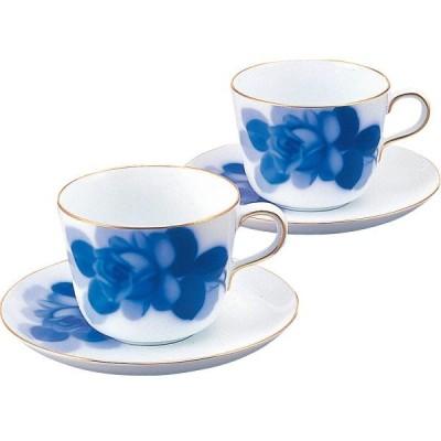 大倉陶園 ブルーローズ ペアモーニング碗皿 26CR/8211