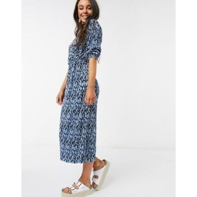 プルアンドベア レディース ワンピース トップス Pull&Bear pleated midi dress in blue floral print Multi