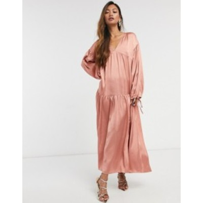 エイソス レディース ワンピース トップス ASOS DESIGN satin tiered trapeze midi smock dress in dusky pink Dusky rose