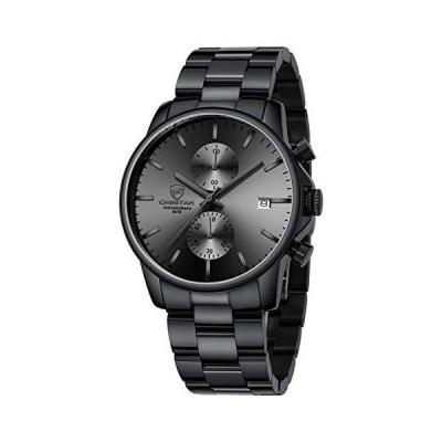 GOLDEN HOUR ファッション ビジネス メンズ 腕時計 ステンレススチール 防水 クロノグラフ クォーツウォッチ メンズ 自動日付 ブラックグ