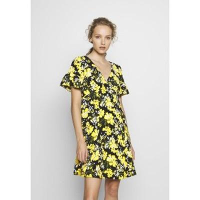 マイケルコース レディース ワンピース トップス TROP SQN FLARE DRESS - Day dress - black/bright dandelion black/bright dandelion