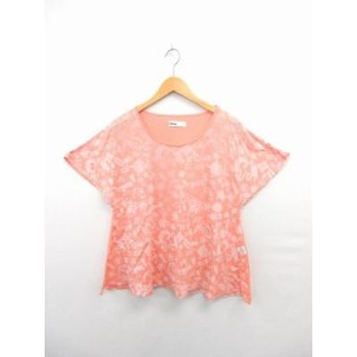 【中古】ネネット Ne-net Tシャツ カットソー 半袖 総柄 綿 コットン ピンク /ST32 レディース