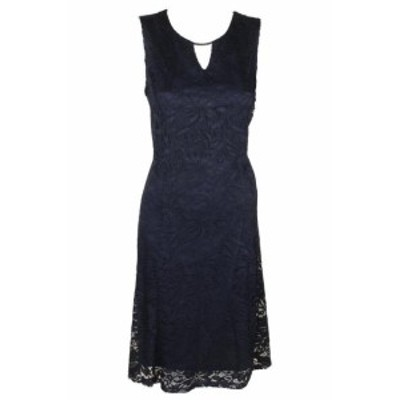 ファッション ドレス Jm Collection Navy Sleeveless Lace A-Line Dress L