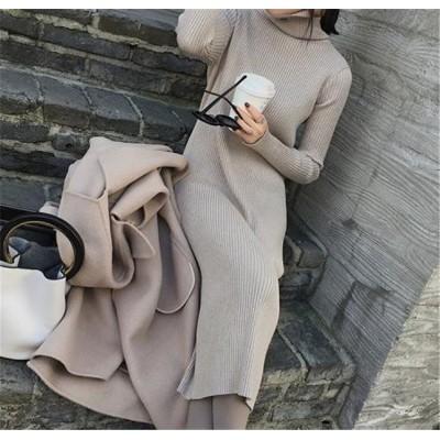 独特の存在感。韓国ファッション おしゃれな 気質 大人気 新品 トレンド タートルネック 長袖 厚手 ウール セーター ワンビース