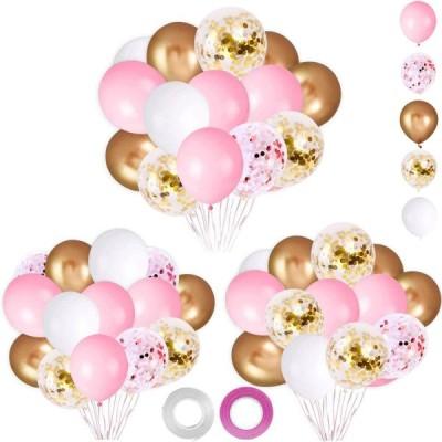 パーティー誕生日 飾り付け バルーンセット 62ピース ピンク ゴールド紙吹雪バルーン ピンク ホワイ トゴールド 風船 結婚式 バースデー パーティ