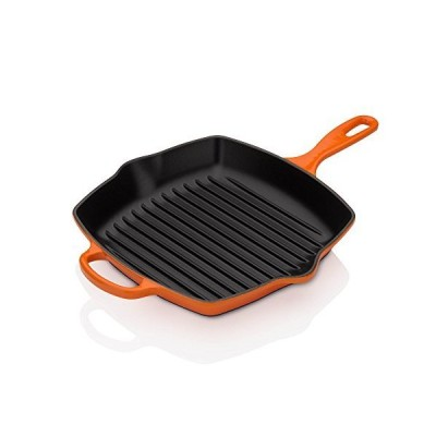 "Le Creuset Enameled Cast Iron Signature Square Skillet Grill, 10.25"", Flame[並行輸入品]"