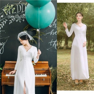 サテン ドレス ロングドレス Vネック 白 ドレス ハイウエスト 長袖 親族 30代 40代 花嫁の結婚式ドレス 上品なドレス 花嫁ウェディングドレス