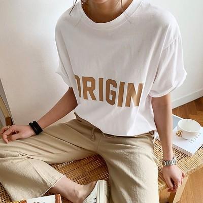 NANING9(ナンニング)origin半袖Tシャツ レディース オシャレ 半袖 夏 ロゴT ロゴ Tシャツ 夏服 サマーコーデ 韓国ファッション シンプル