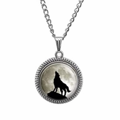Full Moon Wolf Necklace Personalized Picture Art Wolf, No Color, Size No Size