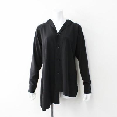 美品 2019FW Yohji Yamamoto(Y's) ワイズ ヨウジ ヤマモト YJ-B02-500 ノーカラーアシンメトリー 長袖シャツ1/ブラック 2400011911582