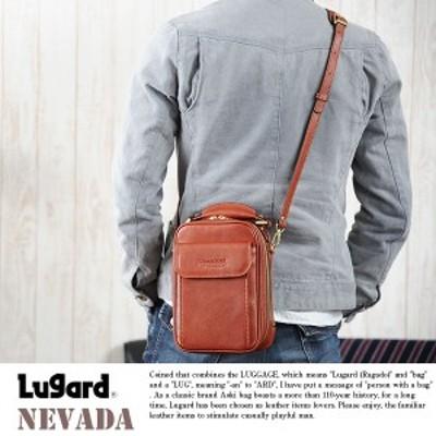 青木鞄 Lugard 牛ヌメ革2wayショルダーポーチ NEVADA  男性用 メンズ ミニショルダーバッグ 縦型 2way 本