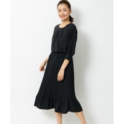 【大きいサイズ】 7分袖プリーツ切替ワンピース ワンピース, plus size dress