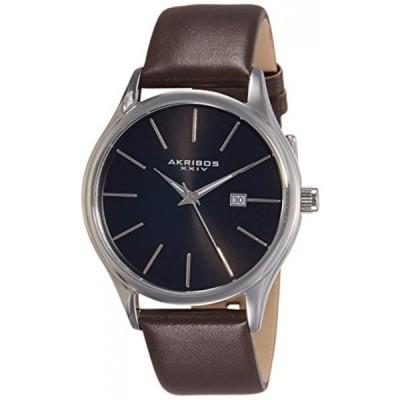 アクリボス XXIV 腕時計 メンズウォッチ Akribos XXIV Men's AK618BR Quartz Movement Watch with Black Dial and Brown Genuine Leather Strap