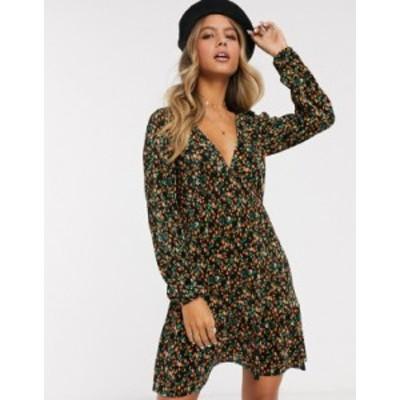 エイソス レディース ワンピース トップス ASOS DESIGN long sleeve mini plisse tea dress pep hem in ditsy print Black ditsy