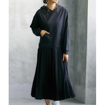 【ゆったりワンサイズ】裏毛パーカードッキングワンピース (ワンピース)Dress