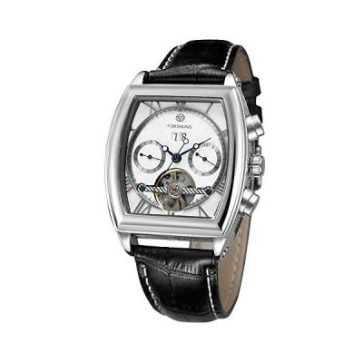海外限定 Forsining Mens Automatic Complete Calendar Tonneau Shape Analog Watch with Leather Starp