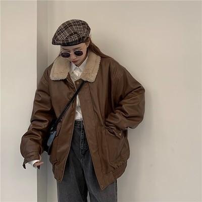 理想的な一着を手に入れる!早い者勝ちc レトロ イン INS ぬいぐるみ 革のジャケット 怠惰な風 ジャケット フライドストリート コート 女性 2020 冬 新しいスタイル ゆったりする スモ