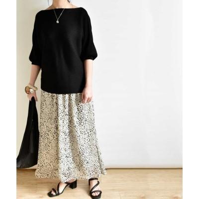 (ARGO TOKYO/アルゴトウキョウ)Printed skirt 222043 プリントスカート スカート ロングスカート シフォンスカート レオパードスカート ダルメシアンスカート マキシスカート/レディース ホワイト系1