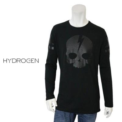 ハイドロゲン Hydrogen メンズ クルーネック スカル ブラック Tシャツ 丸首 長袖Tシャツ ロンT カッソー ICON SKULL TEES LS