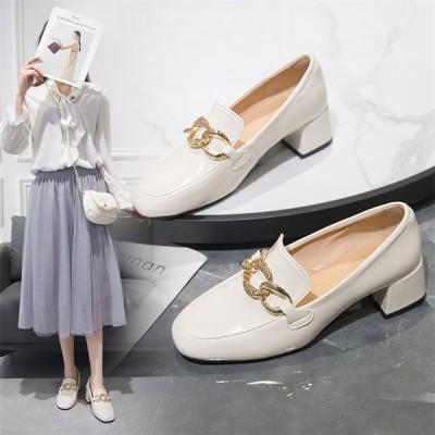 レディース 革靴 ローファー パンプス モカシン 太めヒール OL オシャレ女子靴