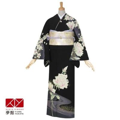 袷 訪問着 レンタル 結婚式 入学式 卒業式 ジャパンスタイル 黒 薔薇に流水 対応身長155〜164cm H479