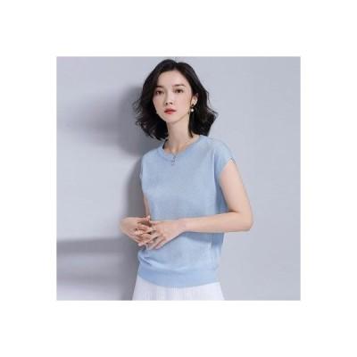 ドゥー ベル Doux Belle サマーニット 半袖 レディース フレンチスリーブ tシャツ ブラウス  カットソー プチプラ (ブルー)